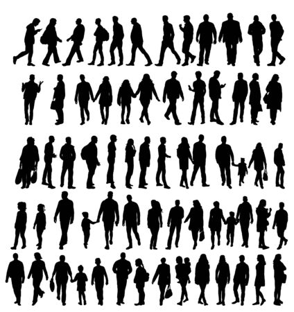 set of silhouettes people, isolated 向量圖像