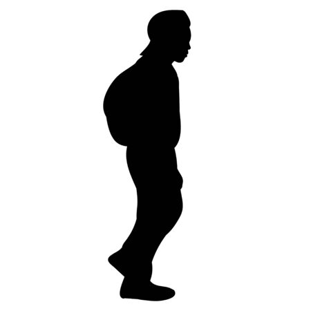 vector, isolated silhouette of a boy with a backpack