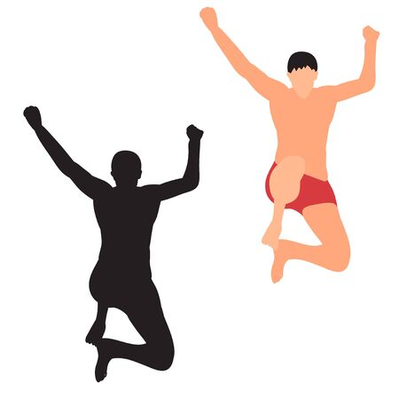 silhouette of a guy jumping on white background