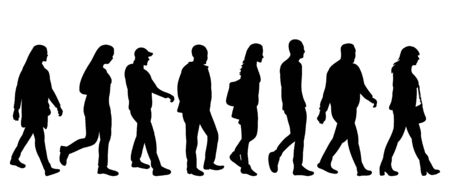 vector, isolated silhouette of walking people one after another group