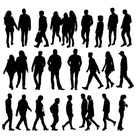 isolated silhouette people collection on white background