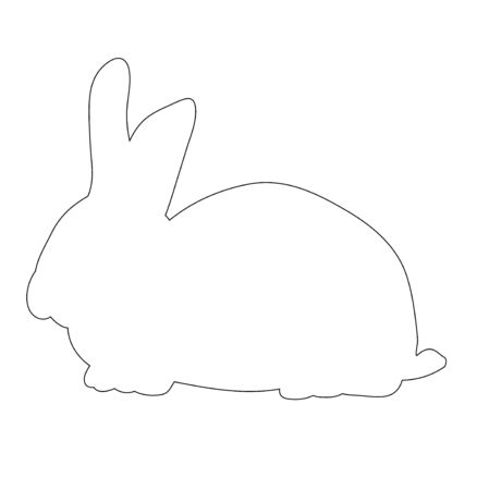 vector, isolated outline of a rabbit on a white background, icon 向量圖像