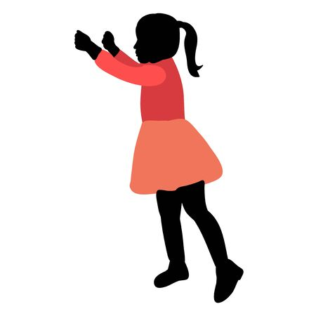 silhouette in colored clothes child rejoices Illustration
