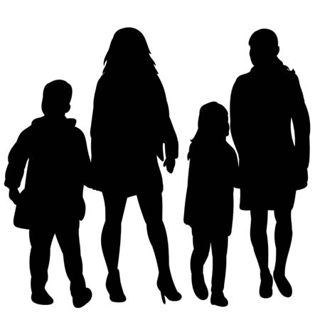 vector, isolated silhouette people with children are walking