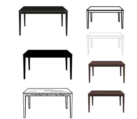 vector, isolated, table, set, sketch