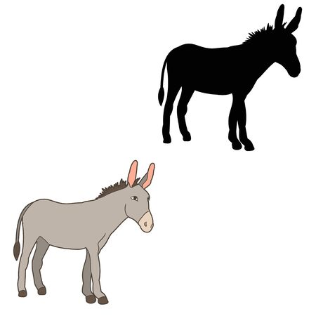 vector, isolated, silhouette of a donkey standing in front of a white background
