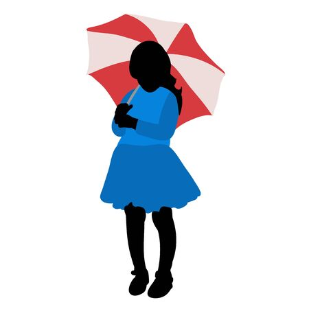 multi-colored silhouette of a child girl with an umbrella