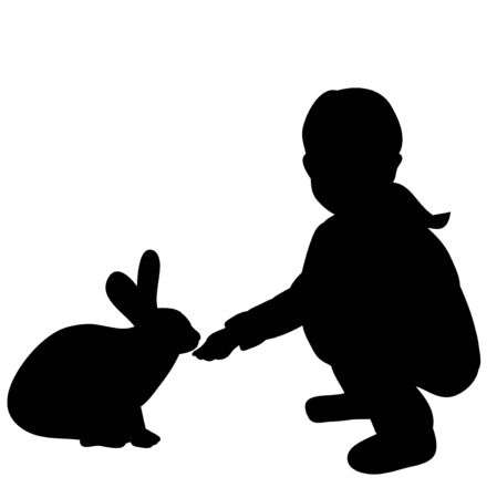 silhouette girl feeding rabbit