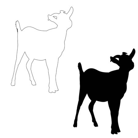 isolated silhouette of goat with horns on white background