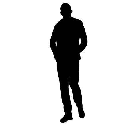 isolated silhouette man is walking on a white background