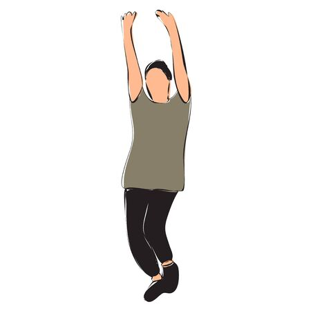 vector, on a white background, the guy is dancing, contour