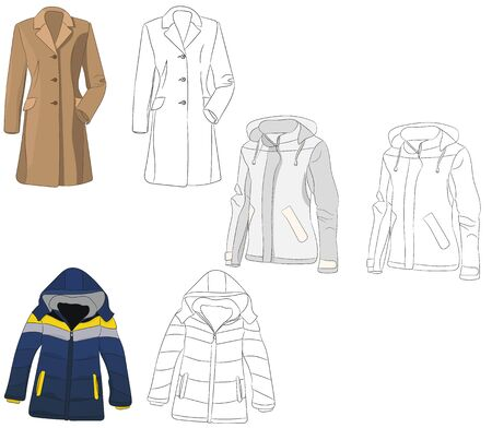 coat and sketch of coat and jacket Vettoriali