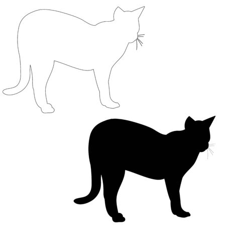 vector, isolated silhouette cat, outline Vettoriali