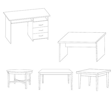 vector, isolated sketch of tables