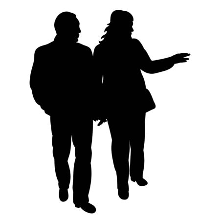 vector, isolated silhouette people go