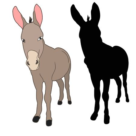 silhouette of a donkey on a white background on white background
