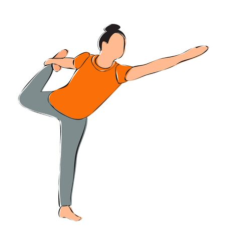 white background, girl doing yoga, contour Vettoriali