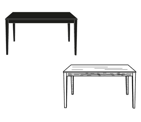 isolated table and sketch of a table