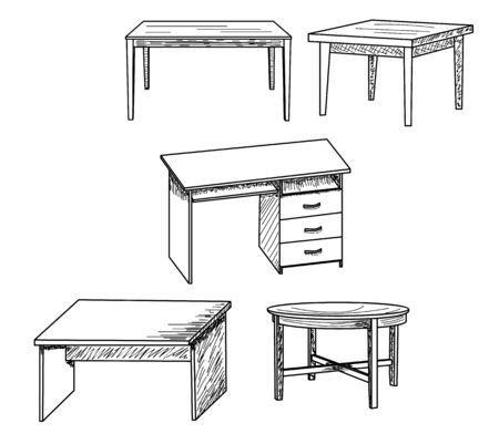 isolated sketch of a table, set 向量圖像