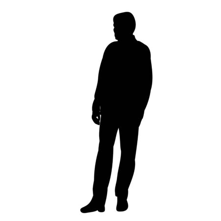 vector, isolated silhouette man standing on white background