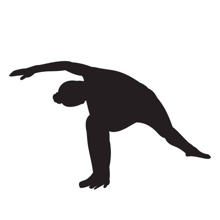 vector, on a white background, silhouette of a girl engaged in yoga Vettoriali