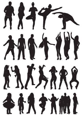 silhouette of dancing people set Векторная Иллюстрация