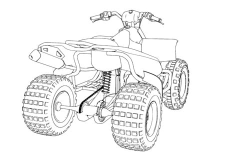 quad sketch vector on a white background