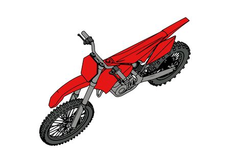 red motorcycle vector on a white background