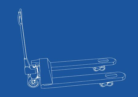 drawing pallet truck vector blue background  Illustration