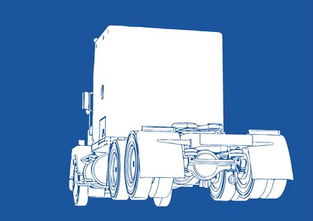truck silhouette on blue background vector
