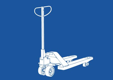 silhouette pallet truck on blue background vector Illustration