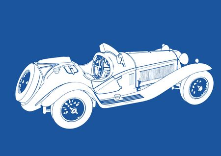 drawing of a retro car in white on a blue background Illustration