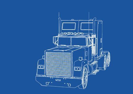 truck drawing on blue background vector