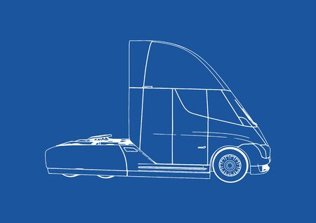 drawing modern truck on blue background vector