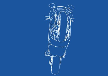 drawing sports bike on a blue background vector