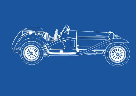 drawing of a vintage sports car blue background vector Illustration