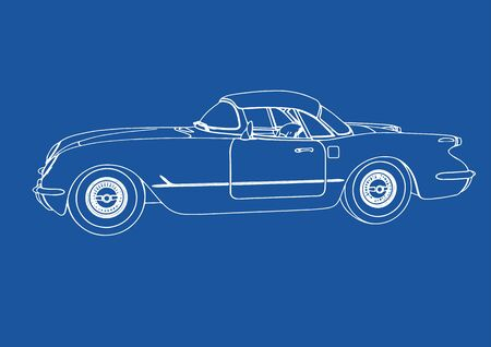 drawing of a retro sport car on blue background vector