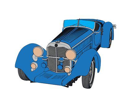 blue retro vector car