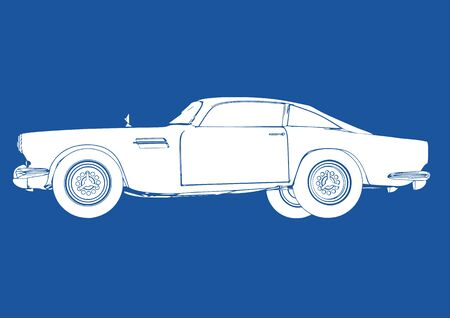 retro car silhouette on blue background vector