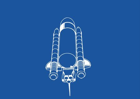 spacecraft drawing on a blue background vector