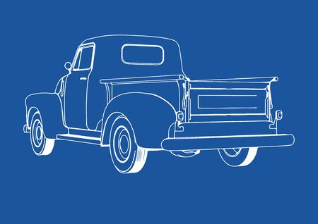 drawing pickup car on a blue background vector Illustration