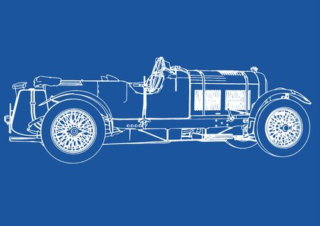 drawing of a retro car on a blue background vector