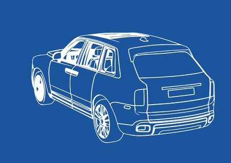 drawing luxury off-road suv car on blue background vector Illustration