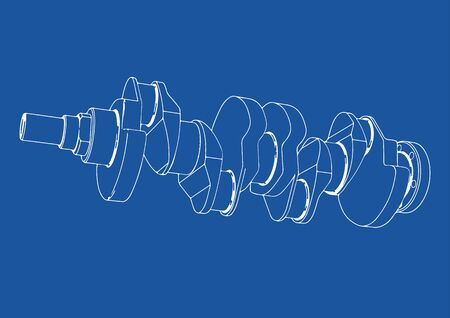 drawing crankshaft vector on a white background