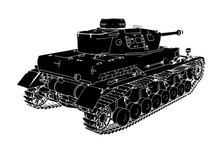 silhouette military equipment tank vector