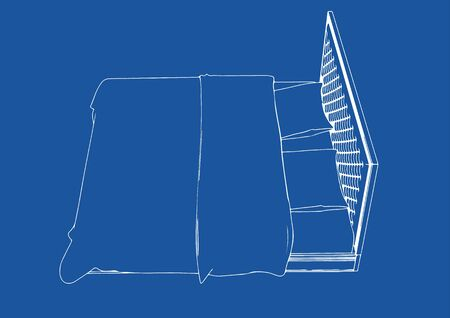 drawing of the bed on a blue background vector