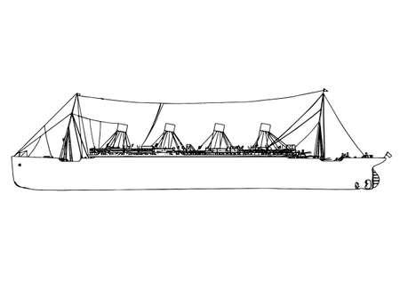 sketch of ship titanic vector