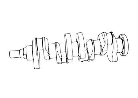 sketch crankshaft vector on a white background