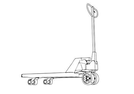 sketch pallet truck vector on a white background