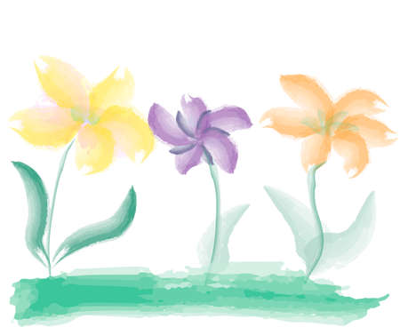 simple watercolor flowers, child's drawing